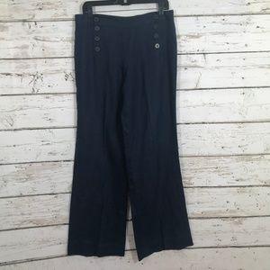 Max Studio Blue Sailor Cut Linen Pants